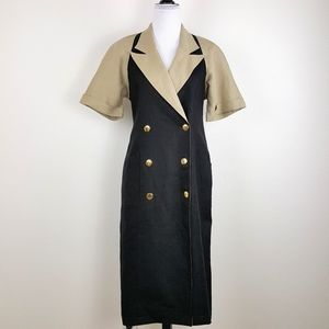 Vintage Size 8 Linen Midi Dress Navy Blue Tan Gold
